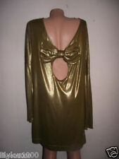 FRENCH CONNECTION GOLD METALLIC BOW TUNIC  DRESS  NEW