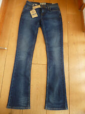FAT FACE DARK USED WASHED INDIGO BOOTCUT BOOTLEG JEANS 6 R STRETCH 35514