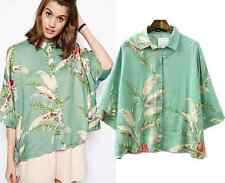 Women's plant print Loose Top Blouse Shirts green fashion spring 3/4 Sleeve NEW
