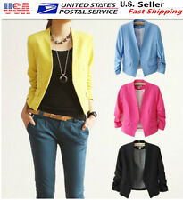 Fashion Women Lady 3/4 Sleeve  Slim Fit Suit Blazer Jacket  Casual Candy Color