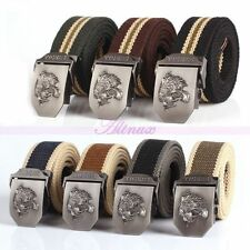 Fashion Mens Canvas Belt Casual Alloy Tiger Buckle Sport Handmad Belts Waistband