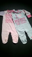 NEXT BABY GIRLS I LOVE MUMMY DADDY ROCKS 2 PACK OF SLEEPSUITS / ROMPERS