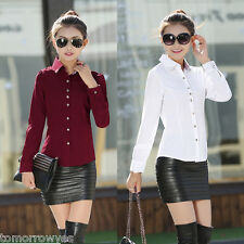 Fashion Women OL Career Turn-down Collar Button Blouse Long Sleeve Office Shirt