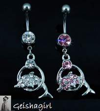 Pink Clear Dolphins Crystal Eye Belly Ring Body Button Bars Jewellery UK Seller