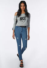 MISSGUIDED HIGH WAIST BLUE RIPPED DISTRESSED SKINNY JEANS ANKLE GRAZER MOM
