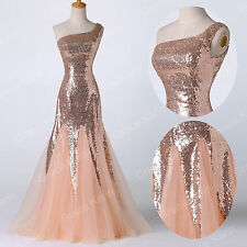 NEW Long Tulle Sequins Evening Formal Party Prom Gown Bridesmaid Wedding Dresses