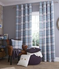 TWILL Check Duck Egg Tartan Eyelet Lined Curtains Catherine Lansfield
