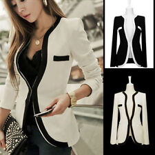 Fashion Women Ladies White Black Colors Slim Suit Coat Blazer Jacket Button