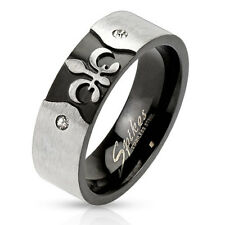 Mens Engraved Fleur De Lis Ring. CZ Stones Accent Stainless Steel  Size 7-13.