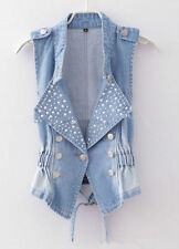 Fashion Women Beads Studded Denim Vest Women  Jean Waistcoat Outerwear Jean Vest