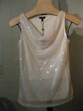 MISSES IVORY SQUARE SEQUIN TOP JERSEY BLOUSE TALBOTS XS $80