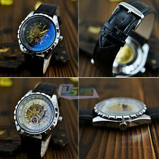 Fashion Leather Band Automatic Skeleton Mechanical Dress Men's Wrist Watch New