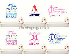 PERSONALISED WALL ART STICKERS for Girls Boys Kids Bedroom Nursery name Decal