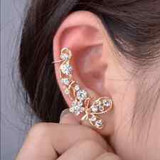 Retro Crystal Butterfly Flower Clip Ear Cuff Stud Earring Wrap Girl Jewelry Hot