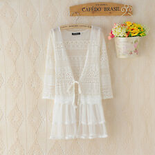 Womens long Sleeve Crochet Lace Floral Loose Cardigan Blouse Tops Beach Cover up