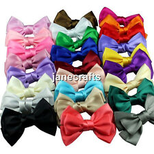 "22pcs 4"" Boutique Satin Ribbon Hairpin Hair Bow Hair Clips Girls Mix 22 Colors"