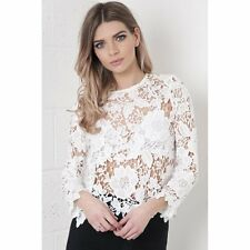 Ladies Womens Floral Crochet Lace Long Sleeve Top Jumper in White  8 10 12 14