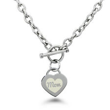 Stainless Steel Engraved Heart Mom Icon Charm Bracelet or Necklace