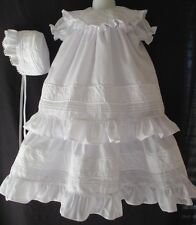 Baby Girls Vintage Inspired  Christening Gown Baptism Dress 0-3 3-6 6-12 Months