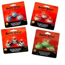Angry Birds School Stationery Red Blue Black Green 3 Pack Eraser Set New Gift