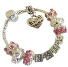 Ladies Girls ANY NAME Dark Pink  PERSONALISED Crystal Charm Bracelet GIFT Box
