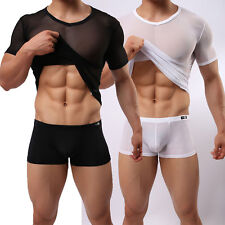New Men's Slim Fit Sexy Mesh Sheer Short Sleeve Gym Tops Casual Stylish T-Shirt