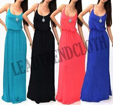 CASUAL SOLID SPAGHETTI STRAP WAIST BAND RAYON FULL LONG SUMMER MAXI DRESS S M L