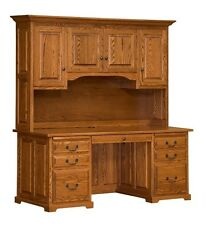 """60"""" Amish Traditional Executive Computer Desk Hutch Home Office Solid Wood"""