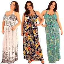 Ladies Plus Size Tropical Paisley Border Print Halter Neck Long Maxi Dress 18-24