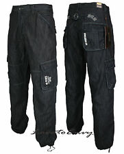 Mens Combat Style ENZO Jeans Cargo Style Reglar Fit Dark Wash Denim Trousers