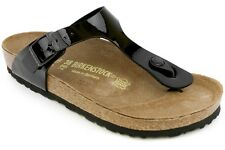 Birkenstock Gizeh 043661 New Womens Patent Black Lifestyle Walking Sandals Shoes