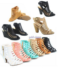 Women's Peep Toe Strappy Caged Chucky Heel Ankle Bootie Sandal Size 5 - 10 NEW