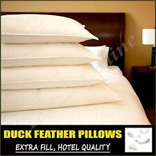Duck Feather Down Pillows Comfortable Hotel Quality With Extra Filling Free P&P