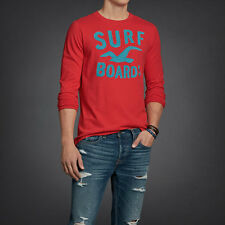 NWT Hollister Men's Muscle Long Sleeve Graphic Tee S M Pullover T-Shirt Red Top
