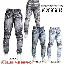 3D DENIM JEAN JOGGER Men Elastic Waist Drop Crotch Twill Trousers Sweat Pants