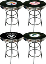 FC122 SPORTS THEMED BLACK TOP CHROME METAL FINISH BAR TABLE MAN CAVE GAME ROOM