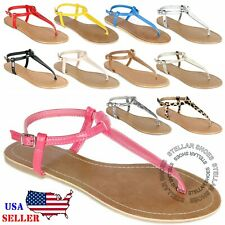 New Womens T Strap Thong Gladiator Strappy Jelly Shiny Flat Flip Flops Sandals