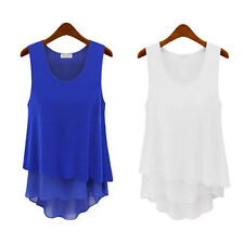 Hot SUMMER WOMEN SLEEVELESS BLOUSE CASUAL TANK TOPS LONG VEST T-SHIRT Tee