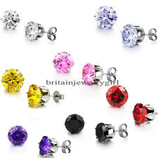 10mm Round Solitaire Women's Stainless Steel Prong CZ Stud Earrings 7 Colors