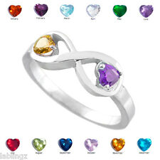 Sterling Silver Infinity Dual Heart CZ Birthstone Ring (Size 10)