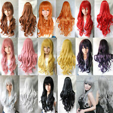 "32""/80cm Long Wavy/Curly Cosplay Fashion Wig Heat Resistant with Cap Liner"