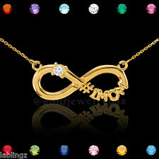 14K Gold Infinity #1 MOM Single CZ Birthstone Necklace Mother's Day Gift!