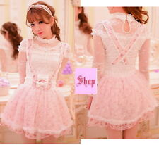 Japan Fashion Princess Cute Kawaii Lolita Slim Chiffon Lace Strape dress Skirts