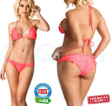 ladies coqueta SWIMSUIT ALLURE BRAZILIAN bikini scrunch ruffles SET coral