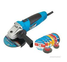 HEAVY DUTY SILVERLINE 500W 115MM ELECTRIC ANGLE GRINDER + CUTTING & GRINDING KIT