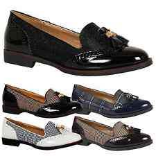 Gillian Womens Flats Loafers Tassel Smart Ladies Classic Shoes Slip On Size New