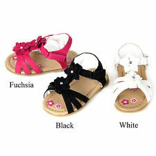 New Baby Infant Toddler Black White Pink Dress Sandals Shoes Size 3-8 berry3