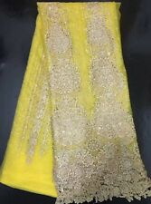 GORGEOUS EMBROIDERED STONES TULLE BRIDAL DRESS MESH LACE FABRIC  5YDS LOT