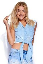 Ladies Full Lace Crochet Back Denim Sleeveless Buttoned Shirt Top UK 8-14