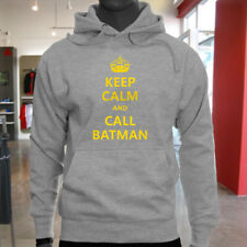 Chive Funny Keep Calm and call Batman Mens Gray Hoodie